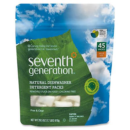 Seventh Generation Natural Dishwasher Detergent 45-Pack - Concentrate - 0.02 oz (0 lb) - 45 / Packet - 1 / Pack - Clear