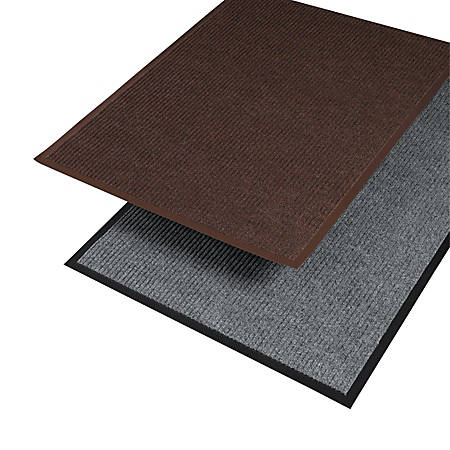 "Crown Needle Rib Wipe And Scrape Indoor Mat, 48"" x 72"", Brown"