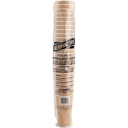 Genuine Joe Ripple Hot Cups - 20 fl oz - 25 / Pack - Brown - Hot Drink