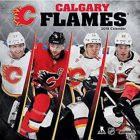 """Turner Sports Monthly Wall Calendar, 12"""" x 12"""", Calgary Flames, January to December 2019"""