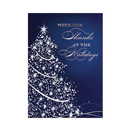 "Custom Embellished Holiday Cards And Foil Envelopes, 7-7/8"" x 5-5/8"", Starry Blue Holiday, Box Of 25 Cards"