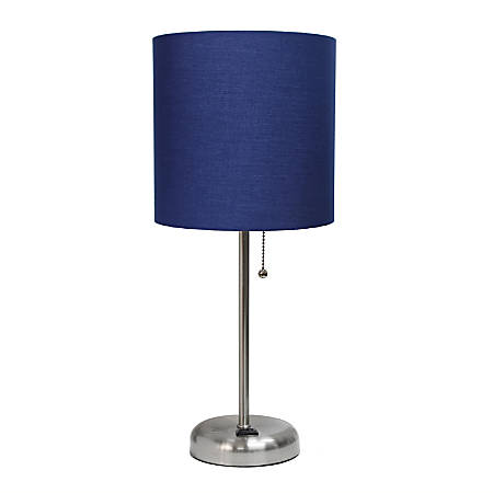 "LimeLights Stick Lamp With Charging Outlet, 19-1/2""H, Navy Shade/Brushed Steel Base"
