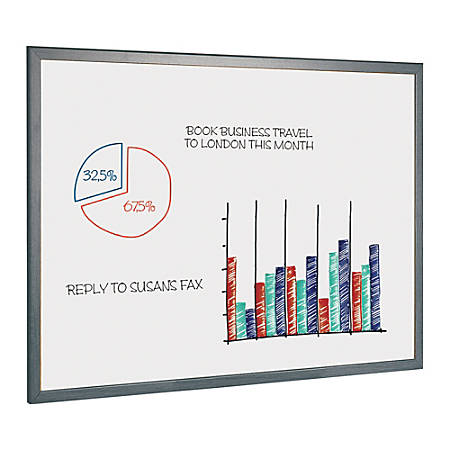 """MasterVision™ Easy-Clean™ Dry-Erase Board With Wood Frame, 36"""" x 24"""", Gray"""