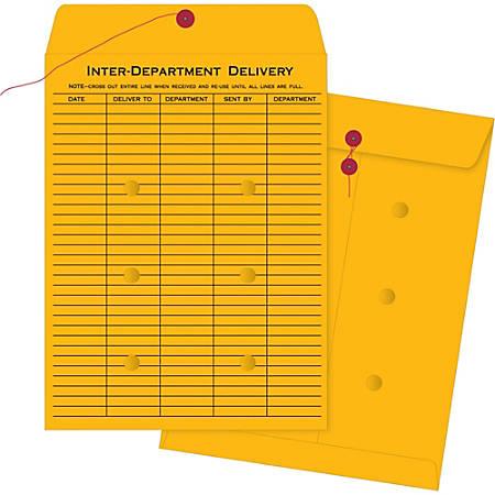 "Business Source Ruled Interdepartmental Envelopes - Inter-department - #32 - 10"" Width x 13"" Length - 32 lb - String/Button - Kraft - 100 / Box - Brown Kraft"