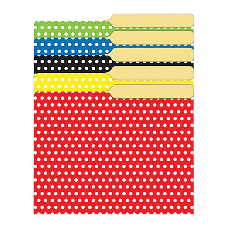 "Top Notch Teacher Products Mini File Folders, 4"" x 6"", Assorted Polka Dots, 6 Packs Of 25"