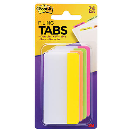 "Post-it® Durable Tabs, 3"" x 1 1/2"", Assorted Colors, 6 Flags Per Pad, Pack Of 4 Pads"