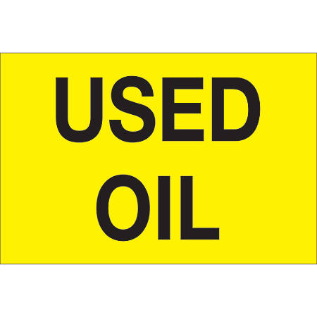 """Tape Logic® Preprinted Shipping Labels, DL1430, Used Oil, 2"""" x 3"""", Fluorescent Yellow, Roll Of 500"""