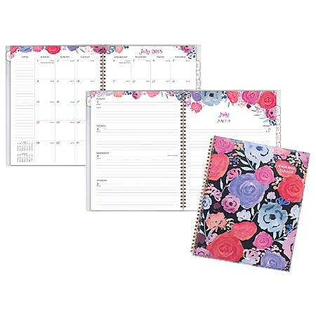 """AT-A-GLANCE® Midnight Rose Customizable Weekly/Monthly Academic Planner, 9"""" x 11"""", 30% Recycled, Multicolor, July 2018 to June 2019"""