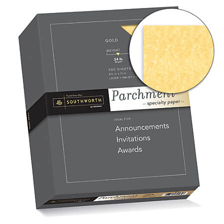 """Southworth® Parchment Specialty Paper, 8 1/2"""" x 11"""", 24 Lb., Gold, Pack Of 500"""