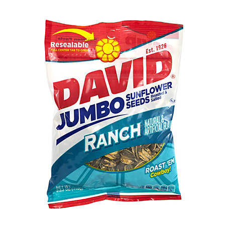 David Jumbo Sunflower Seed Pouches, Ranch, 5.25 Oz, Box Of 12