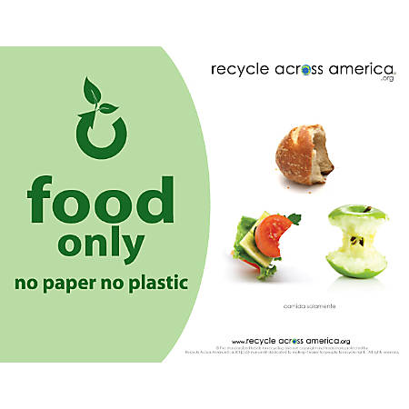 "Recycle Across America Food Standardized Recycling Label, FOOD-8511, 8 1/2"" x 11"", Light Green"