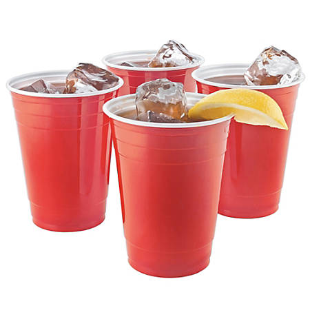 Highmark® Plastic Cups, 16 Oz., Red/White, Pack Of 50