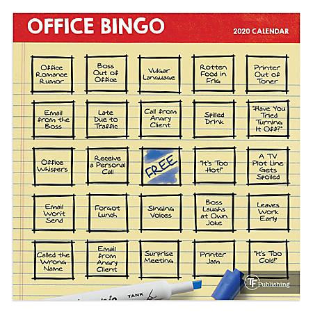 "TF Publishing Mini Wall Calendar, 7"" x 12"", Office Bingo, January To December 2020"