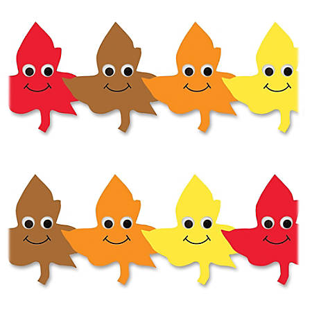"""Hygloss Happy Leaves Border Strips - 12 (Happy Leaves) Shape - Damage Resistant, Durable, Long Lasting - 36"""" Height x 3"""" Width - Yellow, Orange, Red, Brown - 12 / Pack"""