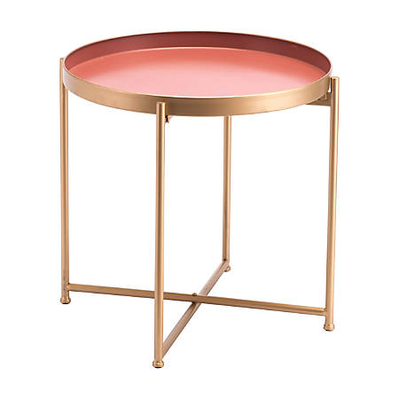 Zuo Modern Red Short End Table, Round, Pink/Gold