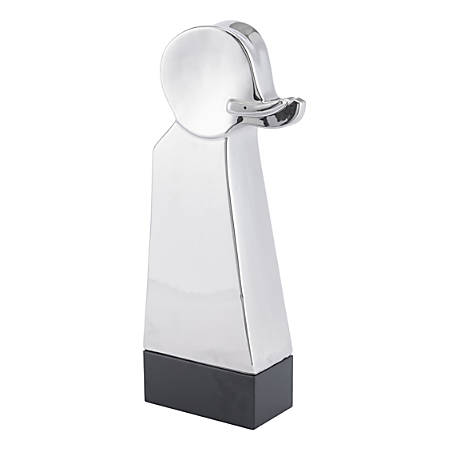 "Zuo Modern Elephant With Pedestal Statue, 16 15/16""H x 6 1/2""W x 3 1/8""D, Silver"