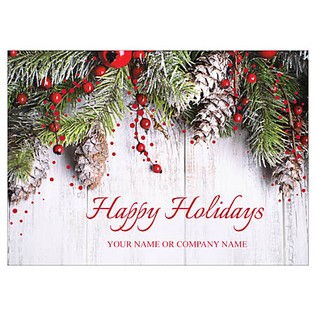 """Custom Embellished Holiday Cards And Foil Envelopes, 7-7/8"""" x 5-5/8"""", Holiday Swag, Box Of 25 Cards"""