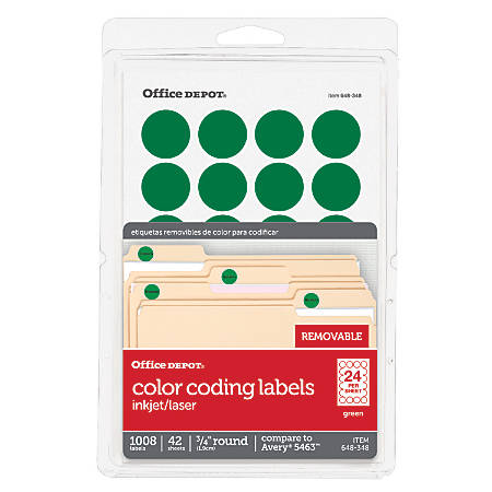 "Office Depot® Brand Removable Round Color-Coding Labels, 3585401836, 3/4"" Diameter, Green, Pack Of 1,008"