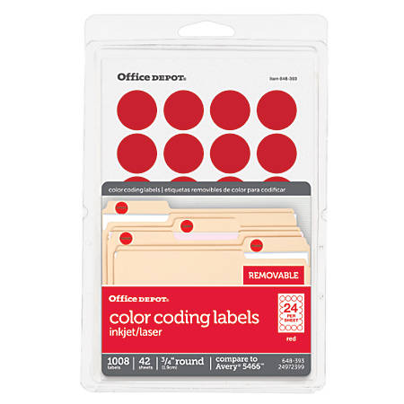 """Office Depot® Brand Removable Round Color-Coding Labels, OD98786, 3/4"""" Diameter, Red, Pack Of 1,008"""