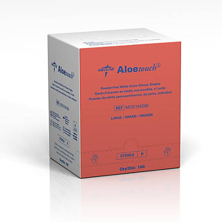 Medline Aloetouch Disposable Powder-Free Nitrile Exam Gloves, Large, Green, Pack Of 400
