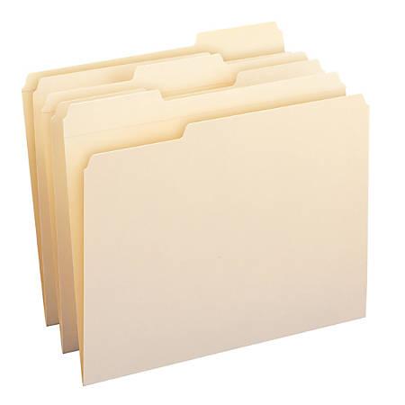 Smead® 1/3-Cut Manila File Folders, Letter Size, 100% Recycled, Manila, Box Of 100