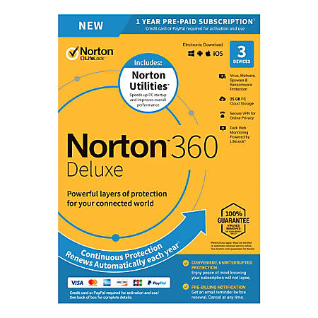 Norton 360™ Deluxe With Norton™ Utilities, For 3 Devices, 1-Year Subscription, Product Key Card