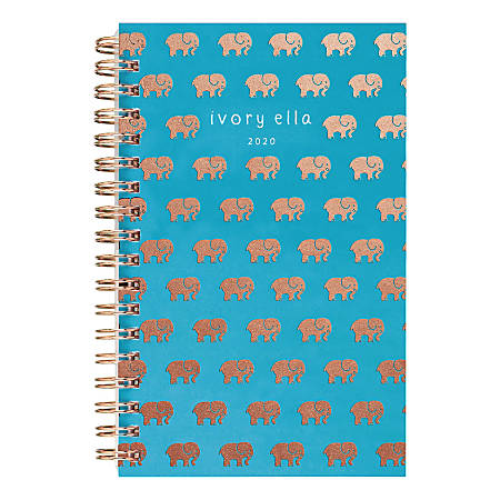 """Cambridge® Ivory Ella Elephant Parade Weekly/Monthly Pocket Planner, 4"""" x 6"""", Teal, January to December 2020, 1234-300"""