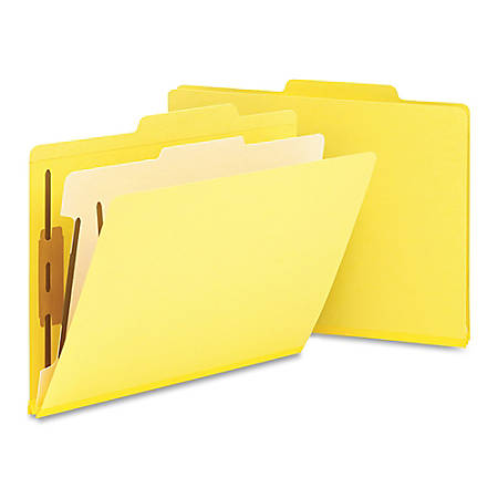 "Smead® Top-Tab Color Classification Folders, Letter Size, 2"" Expansion, 1 Divider, Yellow, Box Of 10"