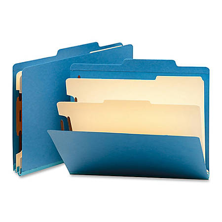 "Smead® Top-Tab Color Classification Folders, Letter Size, 2"" Expansion, 2 Dividers, Blue, Box Of 10"