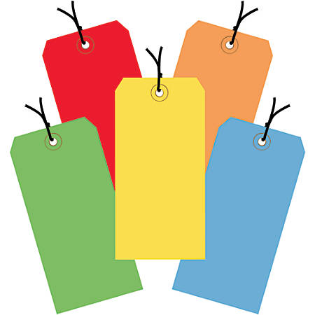 """Office Depot® Brand Shipping Tags, Pre-Strung, 100% Recycled, 6 1/4"""" x 3 1/8"""", Assorted Colors, Case Of 1,000"""