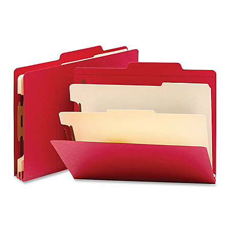 "Smead® Top-Tab Color Classification Folders, Letter Size, 2"" Expansion, 2 Dividers, Red, Box Of 10"