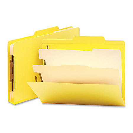 """Smead® Top-Tab Color Classification Folders, Letter Size, 2"""" Expansion, 2 Dividers, Yellow, Box Of 10"""