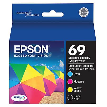 Epson® 69, (T069120-BCS) DuraBrite® Black/Color Ink Cartridges, Pack Of 4