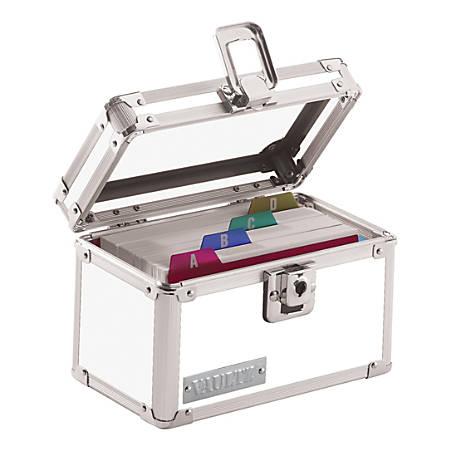 "Vaultz® Locking Index Card Box, 3"" x 5"", Assorted Crocodile Colors (No Color Choice)"