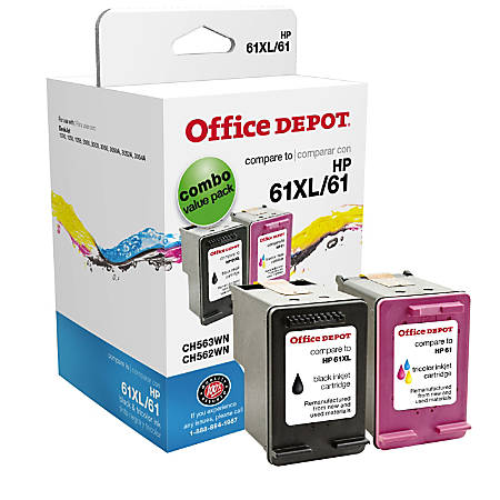 Office Depot® Brand OD61XLK61C (HP 61XL/61) Remanufactured Black/Tricolor Ink Cartridges, Pack Of 2