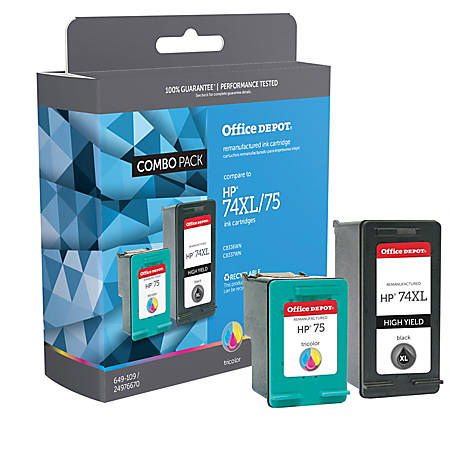 Office Depot® Brand OD74XL75 Remanufactured Ink Cartridge Replacement For HP 74XL/75 Black/Tricolor, Pack Of 2
