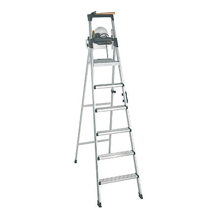 Cosco Lightweight Aluminum Folding Step Ladder With Leg Lock And Handle, 300 Lb, 8'