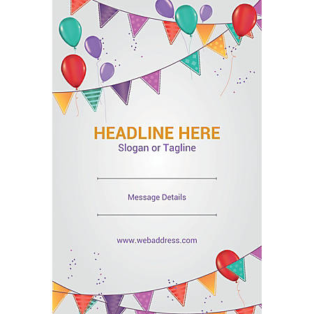 Adhesive Sign, Balloons and Buntings, Vertical