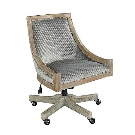Linon Home Décor Lula Quilted Fabric Mid-Back Chair, Gray/Gray Wash