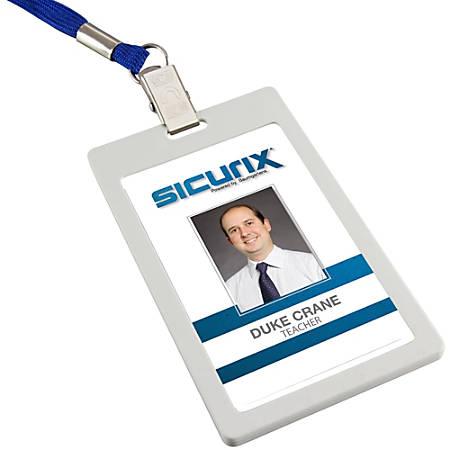 SICURIX Badge Holder - Vertical - 6 / Pack - White