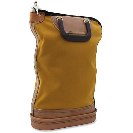 "PM Nylon Security Mail Bag - 14"" Width x 18"" Depth - Gold - Ballistic/Cordura Nylon, Plastic - 1Each - Mailing"
