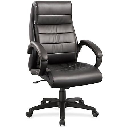 Lorell® Deluxe High-Back Bonded Leather Chair, Black