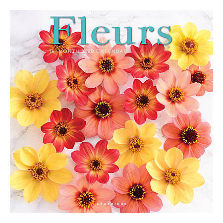 "Graphique de France Monthly Wall Calendar, 12"" x 12"", FSC® Certified, Fleurs, January to December 2020"