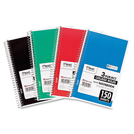 """Mead 3-Subject Wirebound College Rule Notebook - 150 Sheets - Spiral - College Ruled - 6"""" x 9 1/2"""" - Assorted Paper - Heavyweight Cover - Back Board - 1Each"""