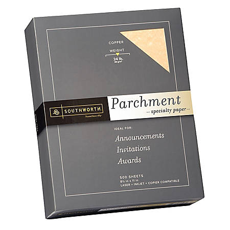 """Southworth® Parchment Specialty Paper, 24 Lb., 8 1/2"""" x 11"""", Copper, Pack Of 500"""