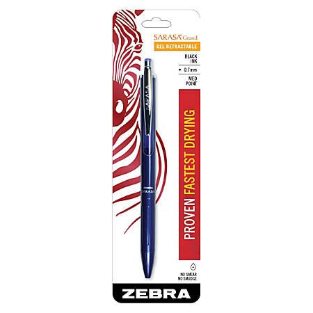 Zebra® Sarasa™ Grand Retractable Pen, Medium Point, 0.7 mm, Navy Barrel, Black Ink