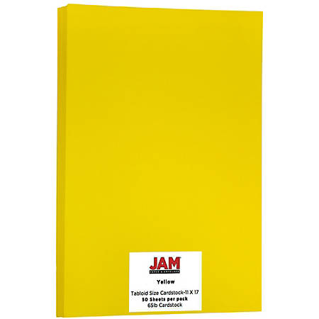 "JAM Paper® Cover Card Stock, 11"" x 17"", 65 Lb, 30% Recycled, Solar Yellow, Pack Of 50 Sheets"