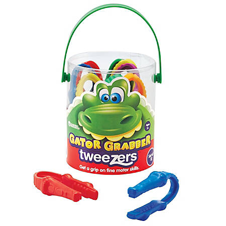 "Learning Resources® Gator Grabber Tweezers, 4"", Assorted Colors, Pre-K - Grade 1, Pack Of 12"