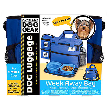 """Overland Dog Gear Week Away Bag For Small Dogs, 11""""H x 6""""W x 12""""D, Royal Blue"""