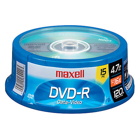 Maxell® DVD-R Recordable Media Spindle, 4.7GB/120 Minutes, Pack Of 15